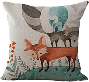 FIN86 Fox Throw Pillow Cushion Case, Print of Animal in Different Positions Woodland, Modern Accent Digital Printing Square Pillowcase Home Decor, 18