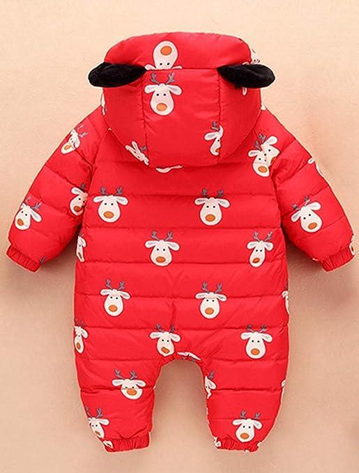 ARAUS Tuta da Neve con Cappuccio Piumino da Neonato Tutone Stampata Calda Bambina Zip up Snowsuit per Inverno 0-18 Mesi