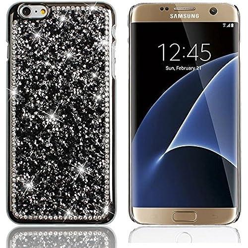 Case Galaxy s7 Edge,TechCode Bling Crystal Crown Rhinestone Flower Pearl Diamond Sparkle Glitter Handmade Hard Sales