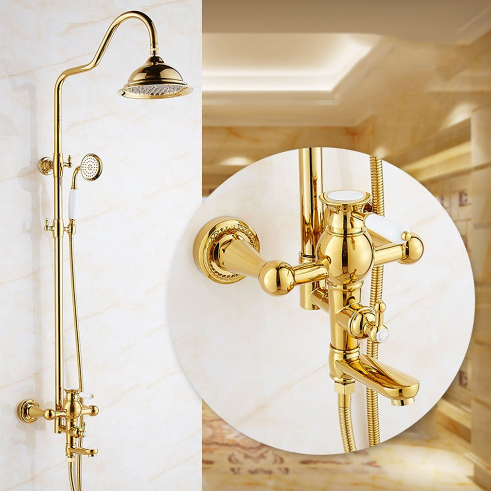 C AiRobin-Luxury gold Bathroom Brass Hot and Cold Water Rain Shower System,A