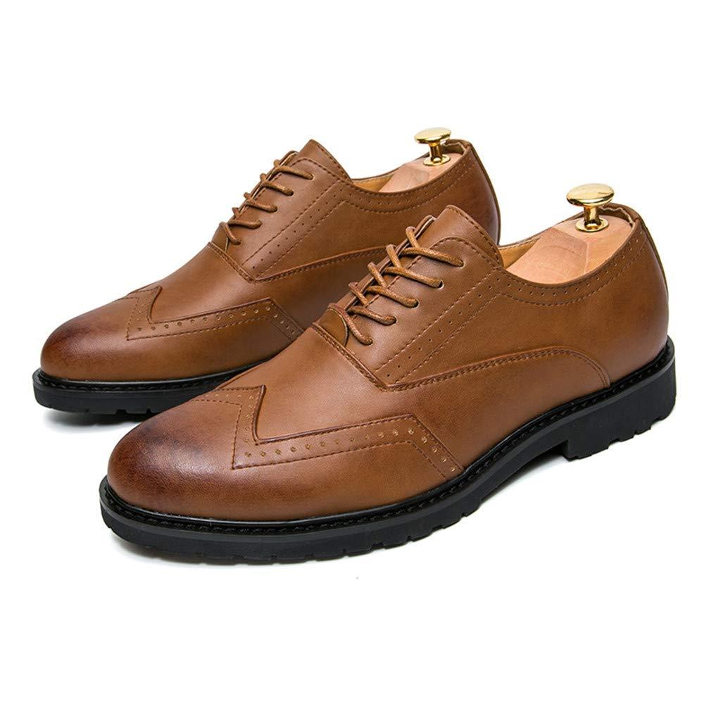 Jaypar Herrenmode Business Oxford Casual PU-Leder Anti-Rutsch-atmungsaktive Brogue Schuhe Color : Braun, Gr/ö/ße : 38 EU