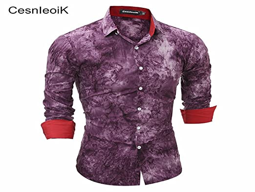 72e30bfd21c Donald Trump Spring Fashion Casual Brand Clothing Men Social Cotton Clothes  Mens Long D Tie Dye Shirts Slim Fit Shirt Fitness X  Amazon.co.uk  Clothing