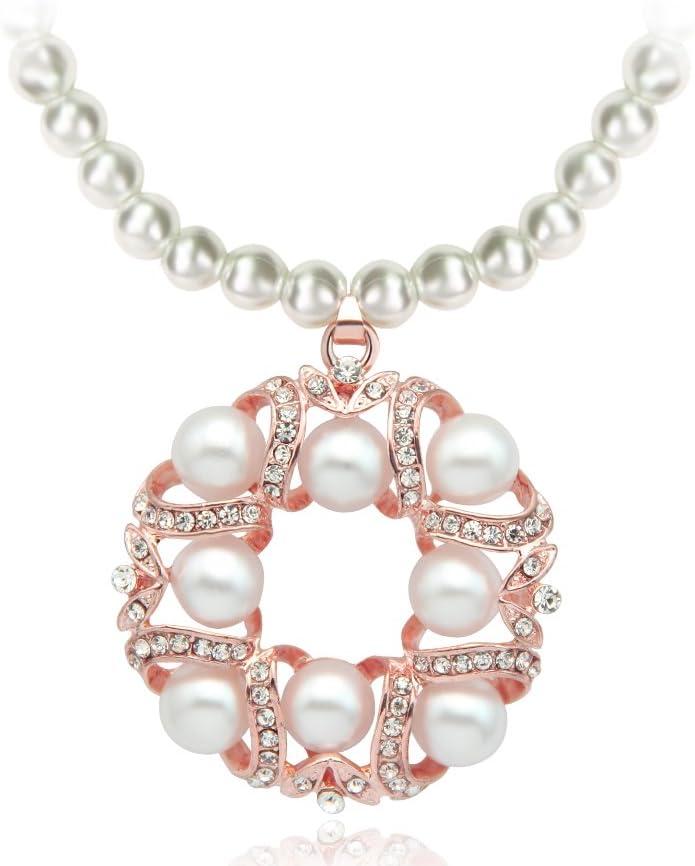 Skyllc® Exquisito Hollow Colgante de la Forma Redonda Collar de Perlas Blancas Collar de la Boda Partido de la Camisa con Cuello en V