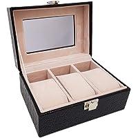 3 Piece Black Pu Croco Leather Watch Organizer Box
