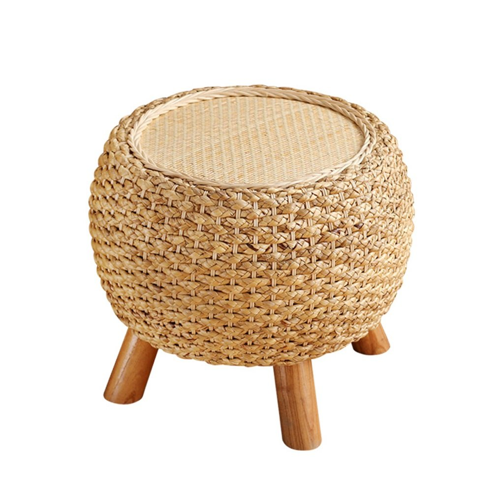 Household Rattan Low Stool Changing his Shoes Stool Coffee Table Balcony Take a Stool Sofa Stool Straw Mound Stool Stool Solid Wood Bench JIN PING Beautiful Homes