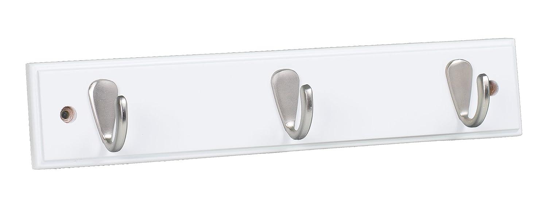 BirdRock Home Modern 3 Hook Coat Rack - Wall Mounted Key Cap & Hat Rack - White Finish - Satin Nickel Hooks