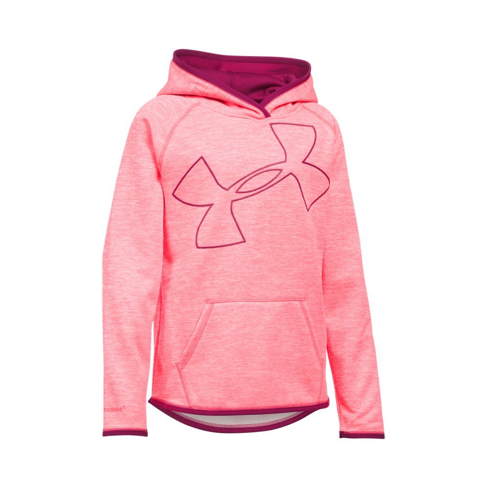 Under Armour Girls' Armour Fleece Novelty Jumbo Logo Hoodie, Pink Chroma (806)/Black Cherry, Youth Small by Under Armour