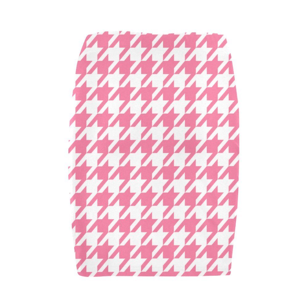D-Story Custom Pink And White Houndstooth Pattern Womens Fitted Skirt