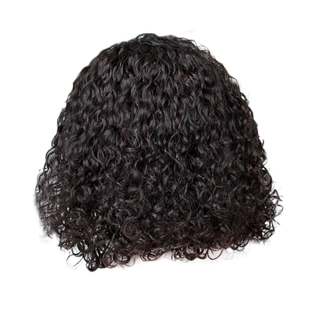 Bob Wave Short Kinky Curly Lace Front Human Hair Wigs,Brazilian Virgin Curly Wig Rose hair net Full Wig Bob Wave Black Natural Looking Women Wigs