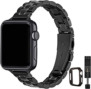 STIROLL Thin Replacement Band Compatible for Apple Watch 38mm 40mm 42mm 44mm, Stainless Steel Metal Wristband Women Men for iWatch SE Series 6/5/4/3/2/1 (Black, 42mm/44mm)