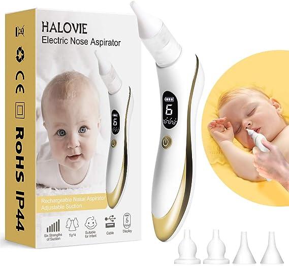 Aspirador Nasal para Bebés, HALOVIE Aspirador de Nasal Bebés Eléctrico Limpiador de Nariz Pantalla LCD Carga USB con 6 niveles de Succión Portátil para Recién Nacidos y Niños Pequeños: Amazon.es: Bebé