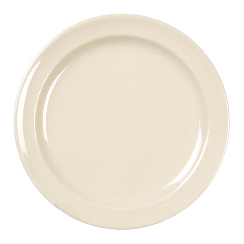 Excellanté Milan Melamine Tan Collection 7-1/4-Inch Round Dessert Plate, Tan, 12-Piece