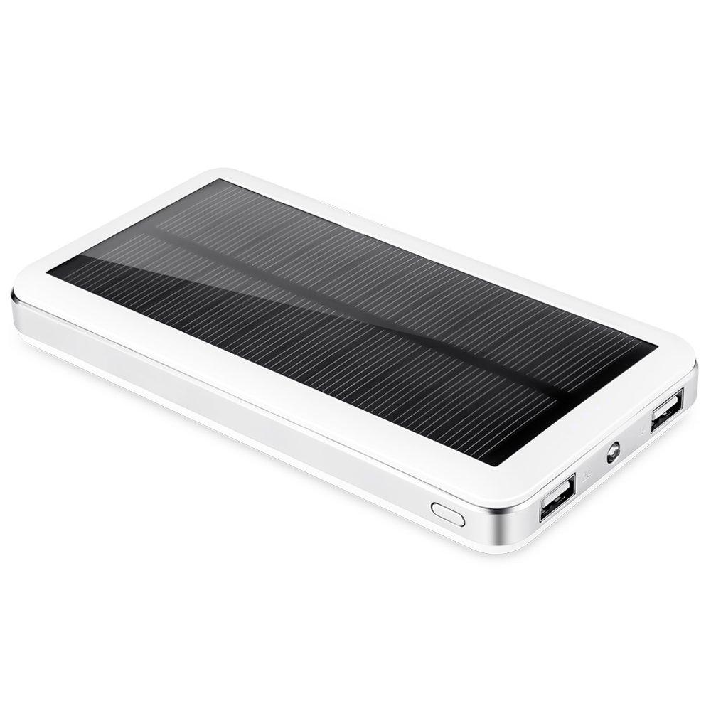 Aedon モバイルバッテリー 超大容量20000mAh ソーラーチャージャー 2USB出力ポート 二つの充電方法 iPhone、iPad、iPod、Samsung、Sony、HTCデバイスなどに充電できる 旅行・ハイキング・災害が必要なもの 白色