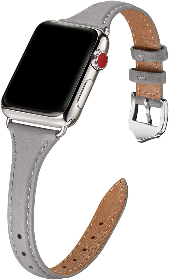 WFEAGL Leather Bands Compatible with Apple Watch 38mm 40mm 42mm 44mm, Top Grain Leather Band Slim & Thin Replacement Wristband for iWatch SE & Series 6/5/4/3/2/1 (Gray Band+Silver Adapter, 38mm 40mm)
