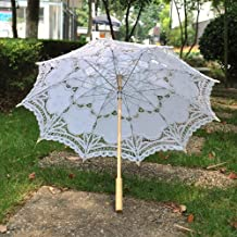 Artwedding Embroidery Pure Cotton Lady Bridal Umbrella Outdoor Sun Parasols, White