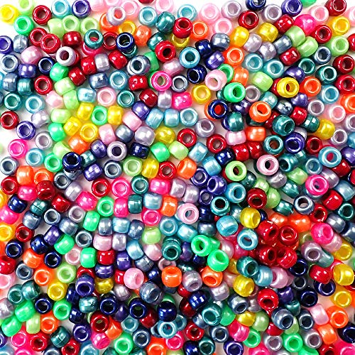 Ultimate Pearl Rainbow Multicolor Mix Plastic Craft Pony Beads, 6 x 9mm, 2000 Beads Bulk Pack ()