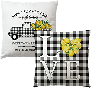 7COLORROOM Set of 2 Farmhouse Lemon Pillow Covers Fresh Lemon Buffalo Check Truck/Love with Quotes Sweet Summer Time Cushion Cover Summer Lemon Home Decorative Pillowcases 18