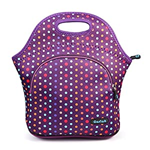 Cosfash Neoprene Lunch Tote Insulated Reusable Picnic Lunch Bags Boxes for Men Women Adults Kids Toddler Nurses (Purple with pocket)