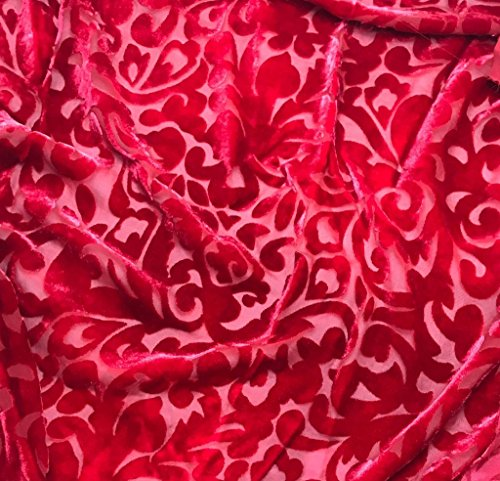 Cherry Red Scroll - Hand Dyed Burnout Silk Velvet Fabric