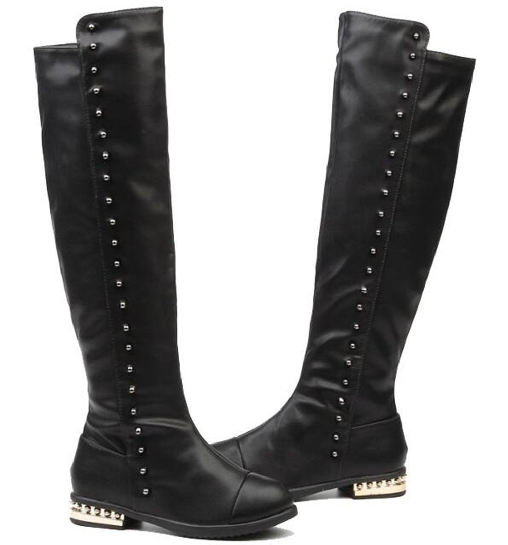 DADAWEN Girl's Waterproof Side Zipper Knee High Riding Boots (Toddler/Little Kid/Big Kid) Black US Size 9 M Toddler