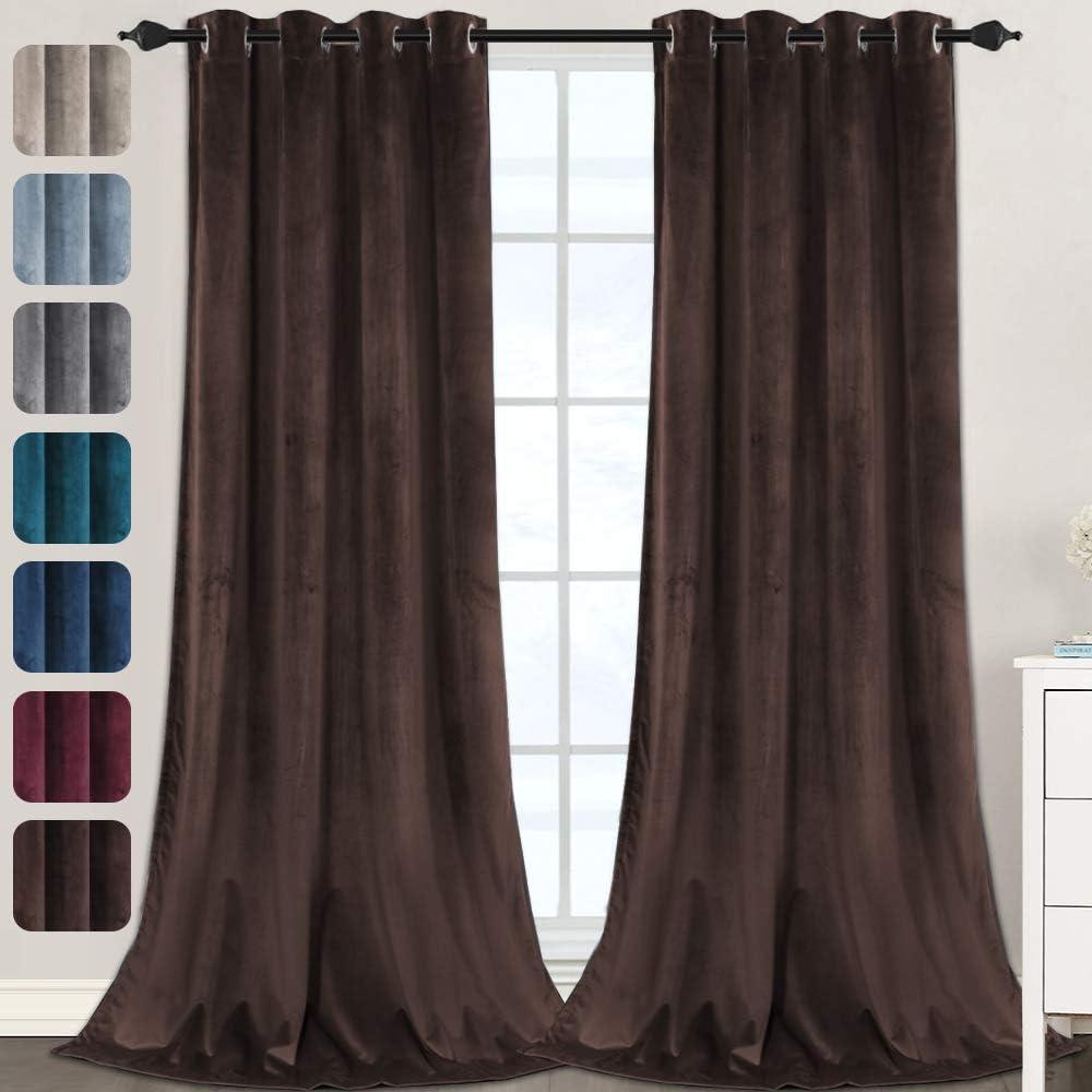 Velvet Curtains for Bedroom-Velvet Curtains 108 Inches Room Darkening Super Soft Luxury Velvet Textured Drapes Thermal Insulated Grommet Panels for Living Room(2 Panels, 52 x 108 Inch, Brown)