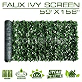 ColourTree Artificial Hedges Faux Ivy Leaves Fence Privacy Screen Panels  Decorative Trellis - Mesh Backing - 3 Years Full Warranty (59'' x 158'')