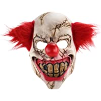 Nuoka Halloween Costume Horror Scary Latex Clown Mask with Red Hair