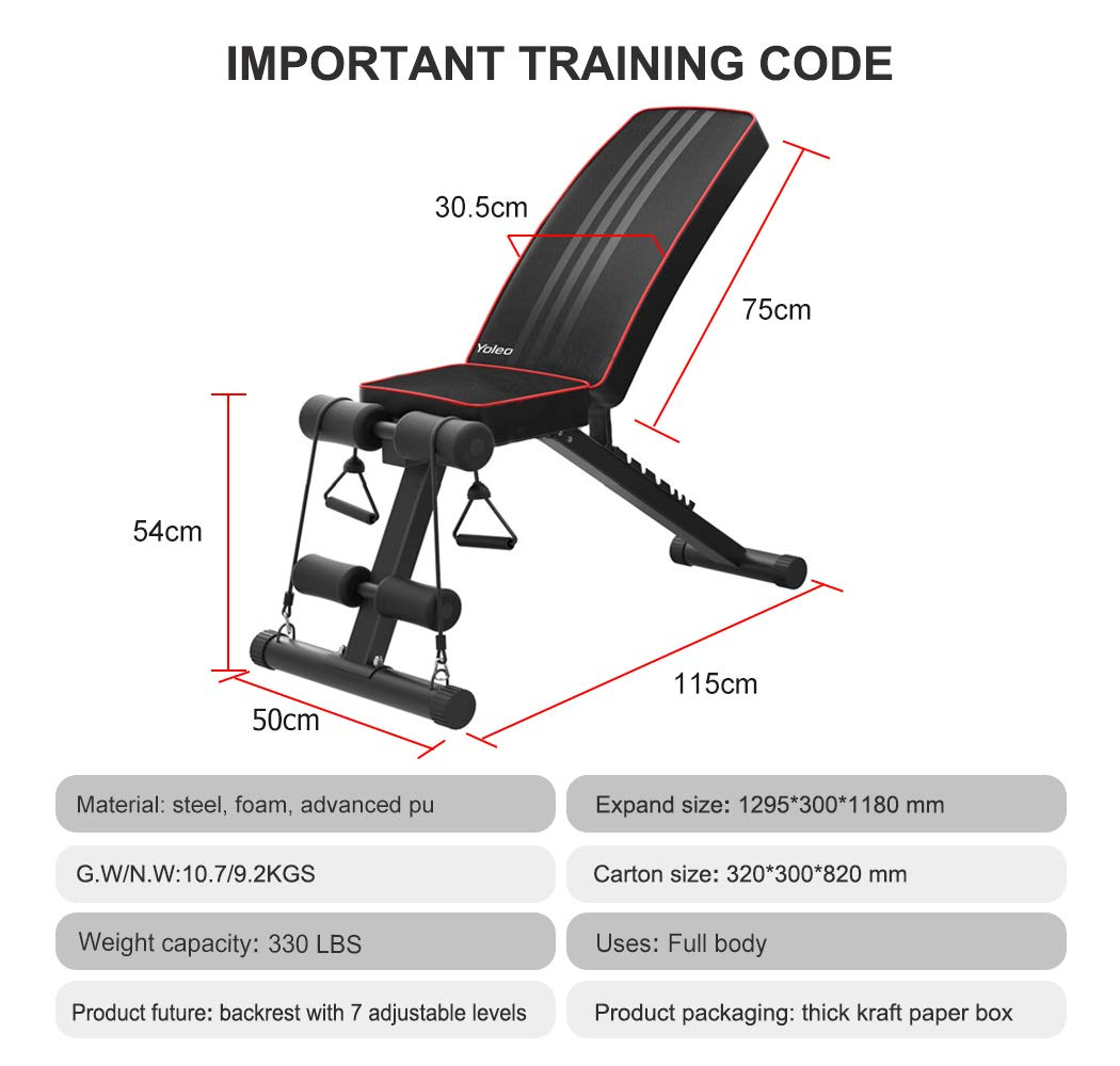 Yoleo Adjustable Weight Bench - Utility Weight Benches for Full Body Workout, Foldable Incline/Decline Bench Press for Home Gym by Yoleo (Image #5)