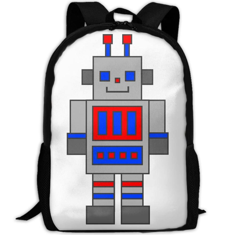 Cartoon Cute Robots大人旅行学校バックパックカジュアルデイパックオックスフォードアウトドアノートパソコン用バッグカレッジコンピューターショルダーバッグ One Size  B07CR4VKFH