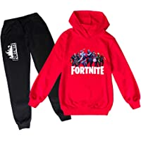 Fortnite Pullover Hoodie and Sweatpants Suit 2 Piece Outfit Fashion Sweatshirt Set for Boys Girls