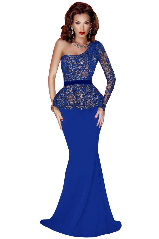 Elegante mujer largo azul negro y dorado encaje un hombro peplum cóctel por la noche vestido de prom partido danza Club Wear tamaño S UK 8 - 10 EU 36 - 38: ...