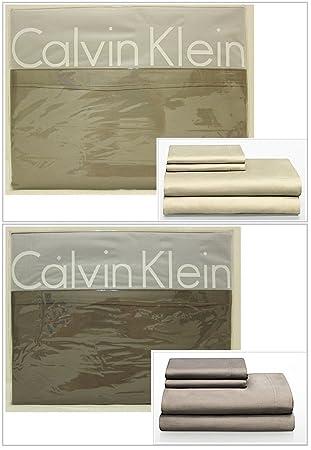 Calvin Klein Double Stich Satin Bettwäsche Set Queen Amazonde