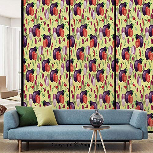AngelSept Decorative Privacy Window Film,Eggplant Tomato Relish Onion Going Green Eating Organic Tasty Preserve Nature Decorative,W15.7xL63in,No Glue Static Cling Glass Sticker,Multicolor
