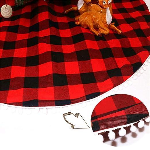 ToDIDAF Falda para árbol de Navidad, 122 cm, Color Negro y Rojo ...