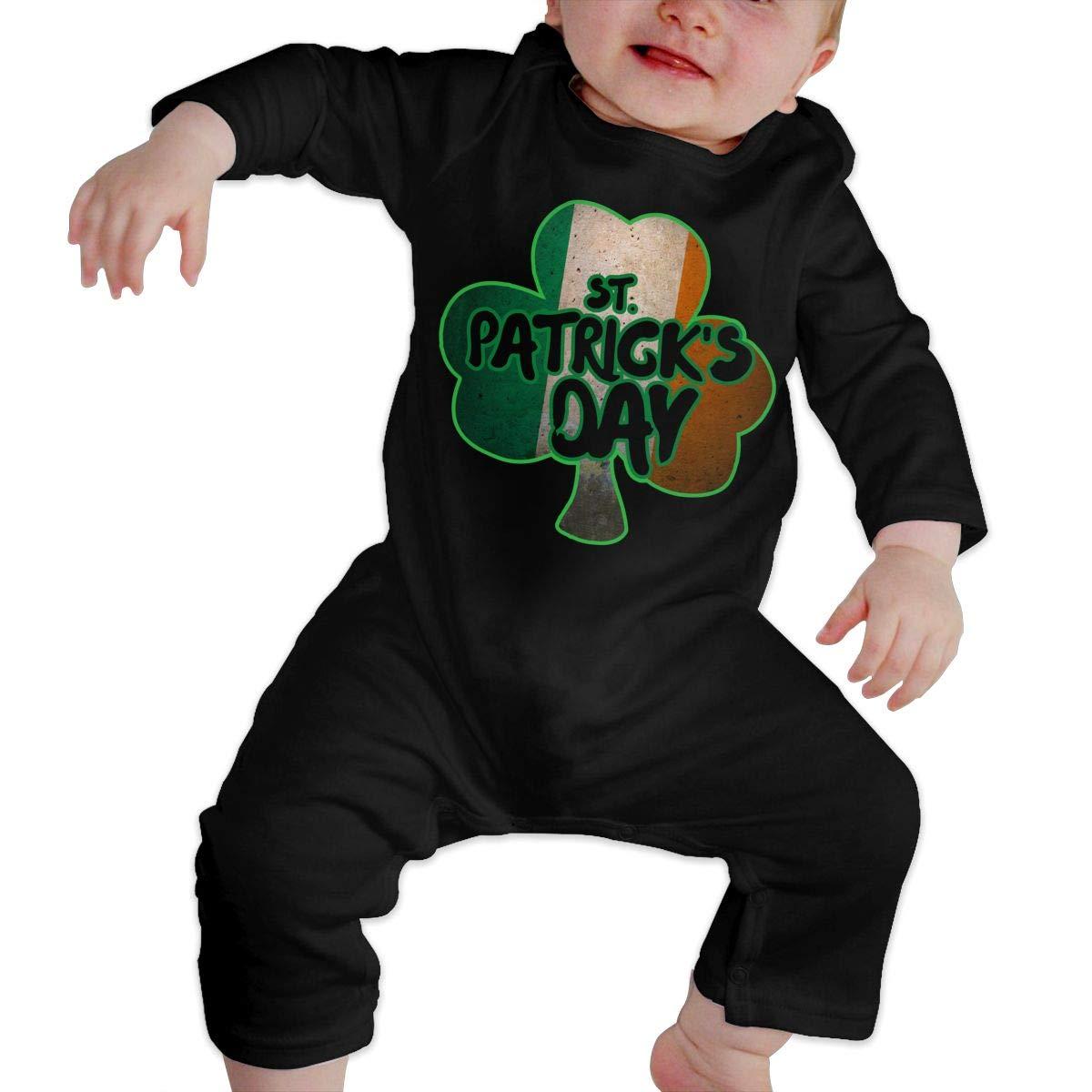 Baby Boy Long Sleeved Coveralls Vintage Irish Shamrock St Patricks Day Baby Rompers