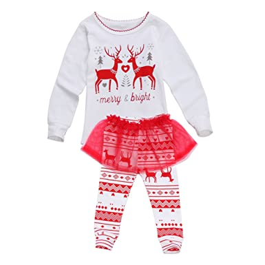 9a6a613128922 Newborn Baby Girls Christmas Clothes Tops Pants Tutu Dress 2PCS Outfits  (1-2 Year
