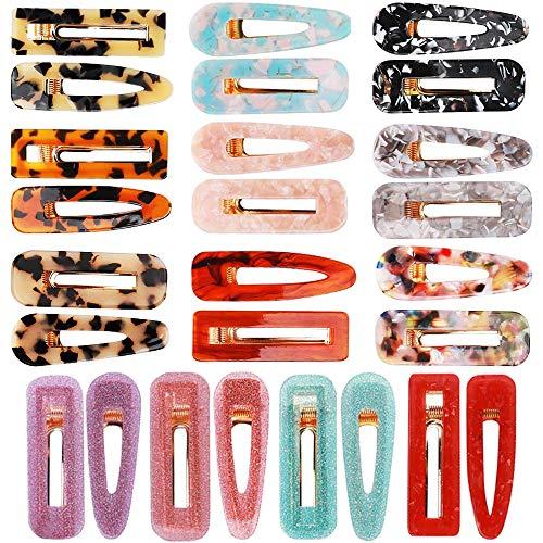 Canflo 26 Pieces Resin Acrylic Hair Clip Fashion Geometric Alligator Hair Barrettes Leopard Print Hair Pins Hair Accessories for Women Girls