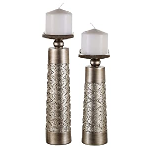 Dublin Decorative Candle Holder Set of 2 - Home Decor Pillar Candle Stand, Coffee Table Mantle Decor centerpieces for Fireplace, Living or Dining Room Table, Gift Boxed (Brushed Silver)