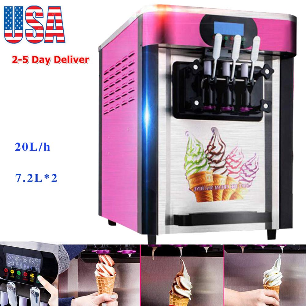 zinnor Ice Cream Machine, Commercial Soft Ice Cream Making Machine with 3 Flavors Desktop Small Automatic Drum Ice Cream Machine USA Shipping