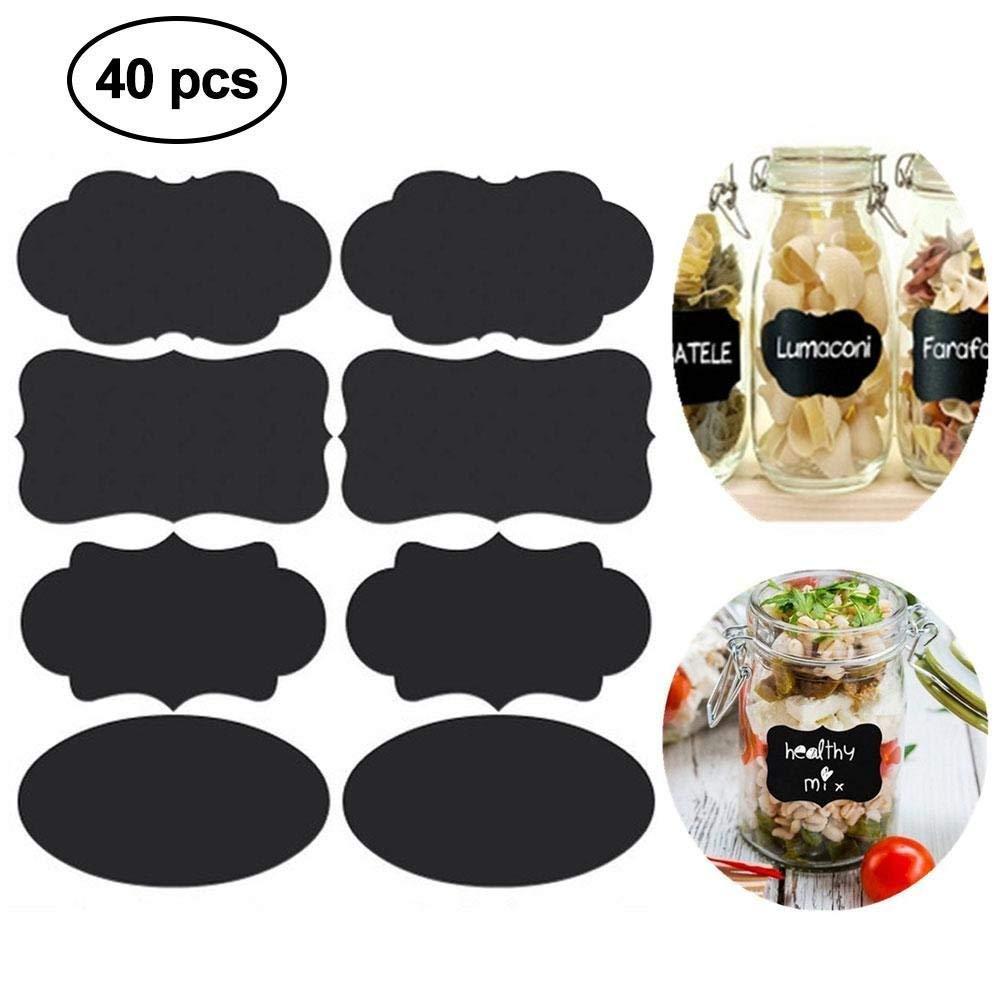 Ashley city 40pcs lavagna adesivi Craft cucina vaso etichette Tag e 1pc penna a gesso liquido