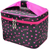 HOYOFO Toiletry Cosmetic Storage Large Travel Makeup Bag with Sweet Bow Handle