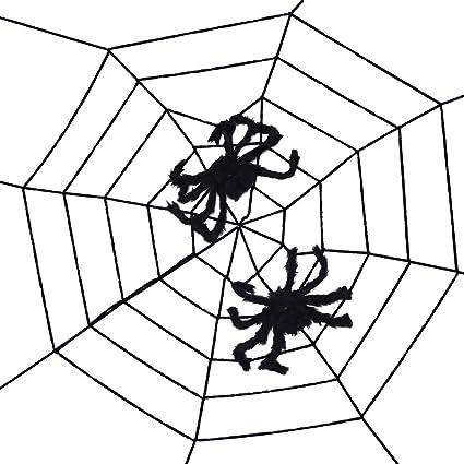Amazon Com Topbuti 8 2 Ft Fake Spider Web With 2 Black Spiders