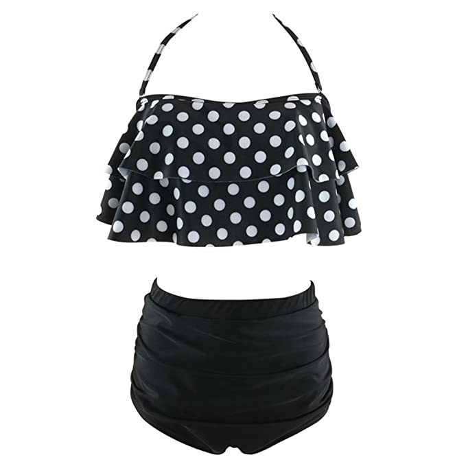 347eed22bf779 Image Unavailable. Image not available for. Color: LIGICKY Women's Retro  Vintage Polka Dot Ruffle Flounce Falbala Halter Top Swimsuit High Waist ...