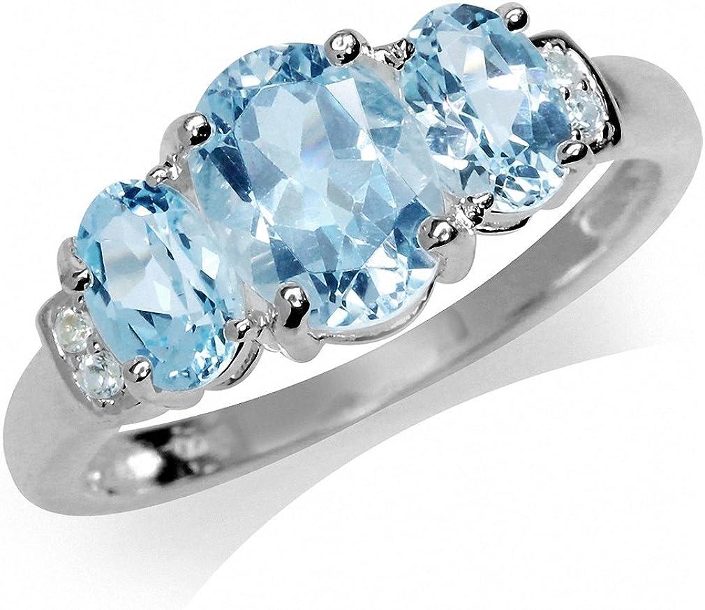 3-Stone Genuine Blue /& White Topaz 925 Sterling Silver Ring 2.72ct