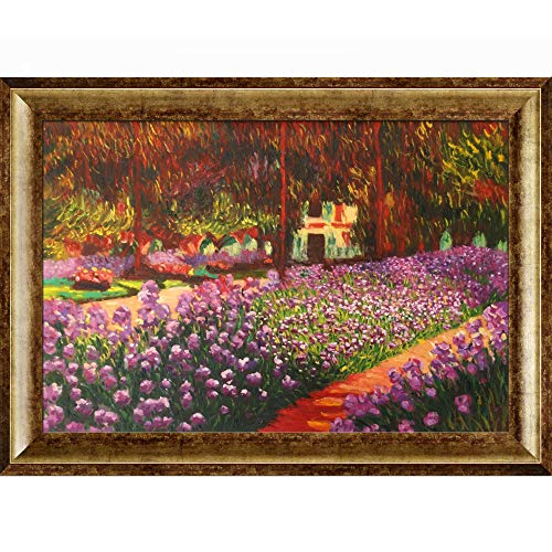 La Pastiche Artist's Garden at Giverny with Athenian Gold King Framed Oil Painting, 43