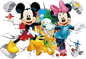 Mickey & Friends Wall Stickers 3D Cartoon Mickey Minnie Mouse Smashed Wall Decals Kids Bedroom Room Decor Mural Decal Size:(16 x 24inches )