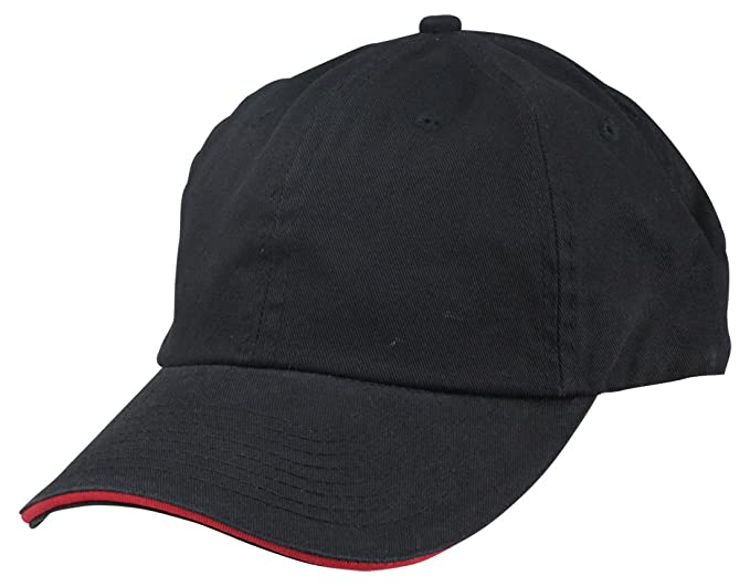 e29c5e42dad Blank Hat Chino Washed Sandwich Ball Cap in Black and Red at Amazon ...