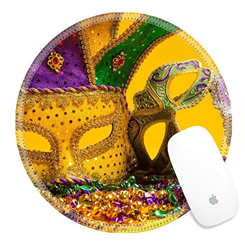 Unique Group Costume Ideas For Work - Luxlady Round Gaming Mousepad 26091100 A festive colorful group of mardi gras or carnivale mask on a yellow Venetian masks