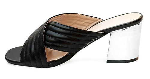 Rapidoshop Chaussure Femme Mules Talons Brides Croisées Sandales H6019-2 Sabot  Noir (39, 38e6b8f76d0b