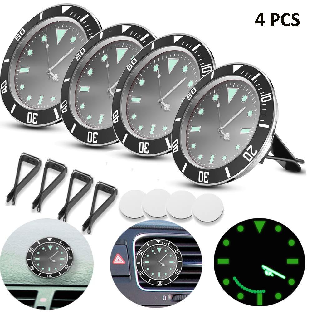 ALLOMN Car Clock with 3M Sticker 5/×5cm Car Air Vent Clock Automobile Quartz Clock Car Decoration Clock Car Dashboard Clock Luminous in Night 1 PCS, Red